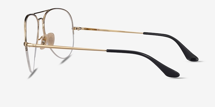 Ray-Ban RB6589 Black Gold Metal Eyeglass Frames from EyeBuyDirect, Side View