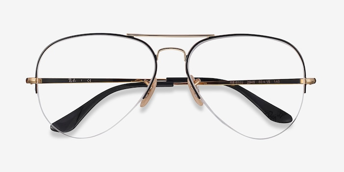 Ray-Ban RB6589 Black Gold Metal Eyeglass Frames from EyeBuyDirect, Closed View