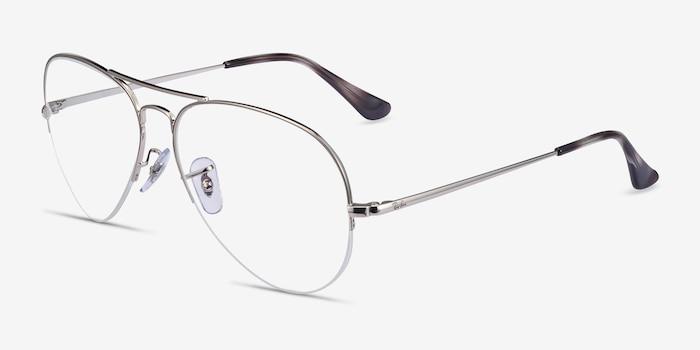 Ray-Ban RB6589 Silver Metal Eyeglass Frames from EyeBuyDirect, Angle View
