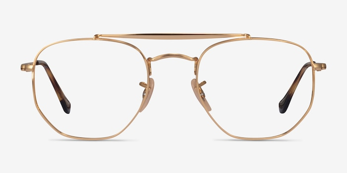 Ray-Ban RB3648V Gold Metal Eyeglass Frames from EyeBuyDirect, Front View