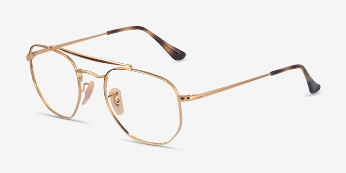 Ray-Ban RB3648V Gold Metal Eyeglass Frames from EyeBuyDirect, Angle View