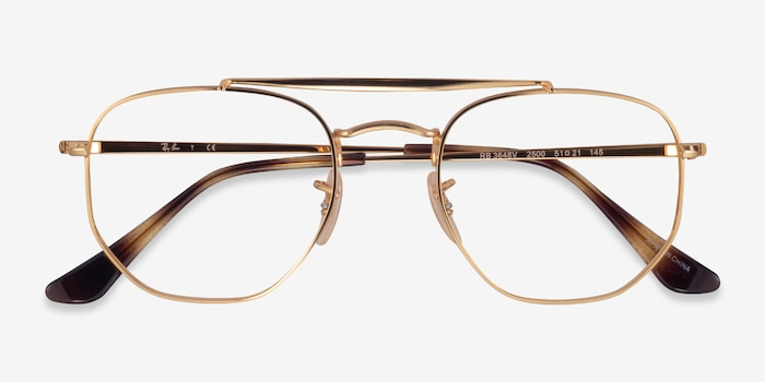 Ray-Ban RB3648V Gold Metal Eyeglass Frames from EyeBuyDirect, Closed View