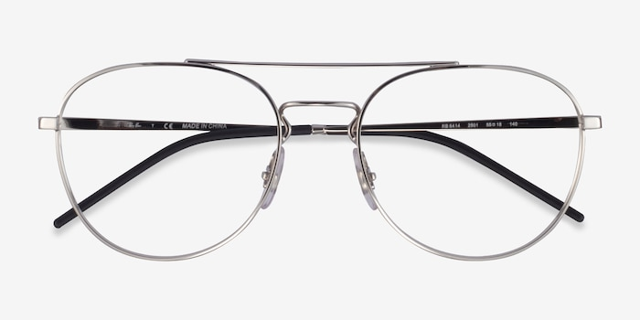 Ray-Ban RB6414 Silver Metal Eyeglass Frames from EyeBuyDirect, Closed View