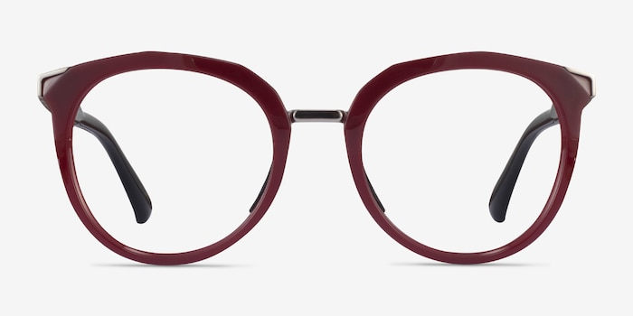Oakley Top Knot Red & Silver Acetate Eyeglass Frames from EyeBuyDirect, Front View