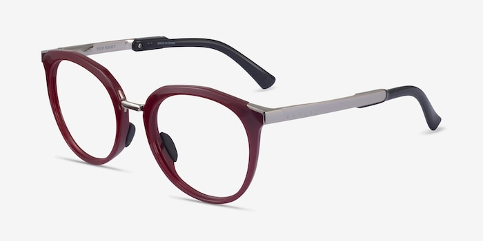 Oakley Top Knot Red & Silver Acetate Eyeglass Frames from EyeBuyDirect, Angle View