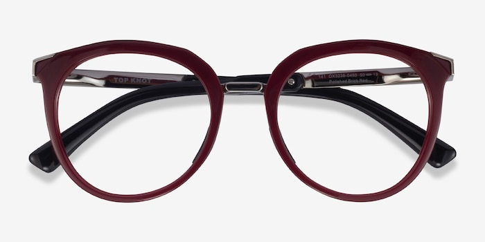 Oakley Top Knot Red & Silver Acetate Eyeglass Frames from EyeBuyDirect, Closed View