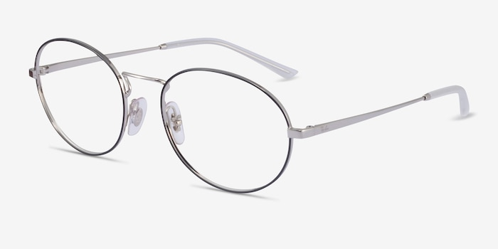 Ray-Ban RB6439 Black & Silver Metal Eyeglass Frames from EyeBuyDirect, Angle View