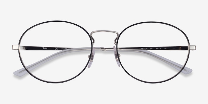 Ray-Ban RB6439 Black & Silver Metal Eyeglass Frames from EyeBuyDirect, Closed View