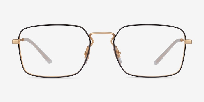 Ray-Ban RB6440 Black & Gold Metal Eyeglass Frames from EyeBuyDirect, Front View
