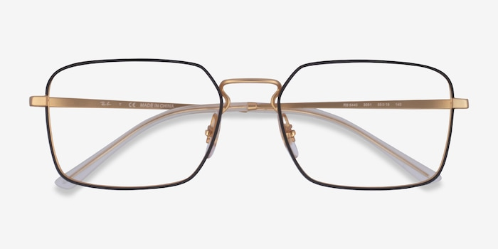 Ray-Ban RB6440 Black & Gold Metal Eyeglass Frames from EyeBuyDirect, Closed View