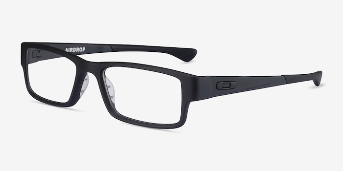 Oakley Airdrop Satin Black Plastic Eyeglass Frames from EyeBuyDirect, Angle View
