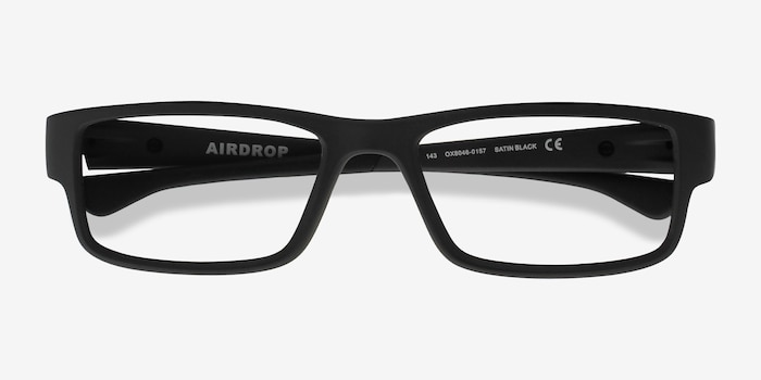 Oakley Airdrop Satin Black Plastic Eyeglass Frames from EyeBuyDirect, Closed View