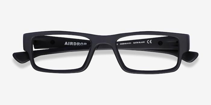 Oakley Airdrop Satin Black Plastic Eyeglass Frames from EyeBuyDirect, Closed View