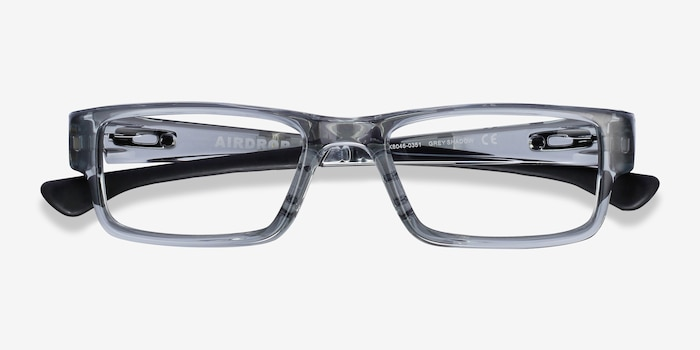 Oakley Airdrop Gray Shadow Plastic Eyeglass Frames from EyeBuyDirect, Closed View