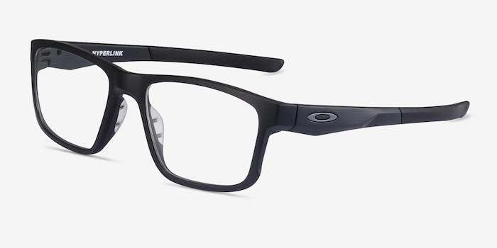 Oakley Hyperlink Satin Black Plastic Eyeglass Frames from EyeBuyDirect, Angle View