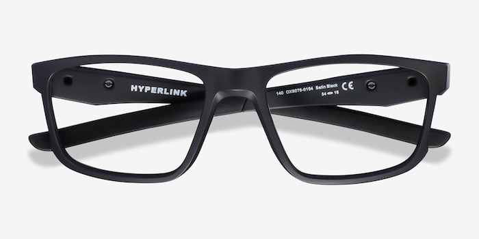 Oakley Hyperlink Satin Black Plastic Eyeglass Frames from EyeBuyDirect, Closed View