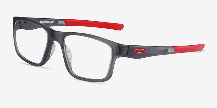 Oakley Hyperlink Satin Gray Smoke Plastic Eyeglass Frames from EyeBuyDirect, Angle View