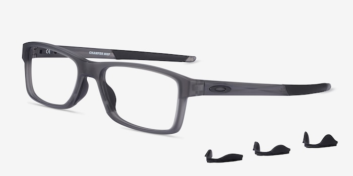 Oakley Chamfer MNP Gray Plastic Eyeglass Frames from EyeBuyDirect, Angle View