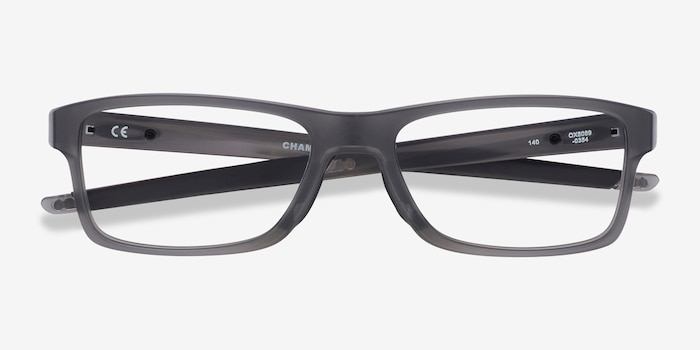 Oakley Chamfer MNP Gray Plastic Eyeglass Frames from EyeBuyDirect, Closed View