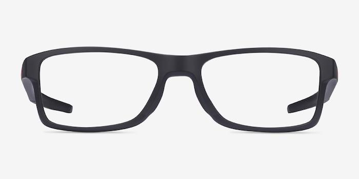 Oakley Chamfer MNP Black Plastic Eyeglass Frames from EyeBuyDirect, Front View