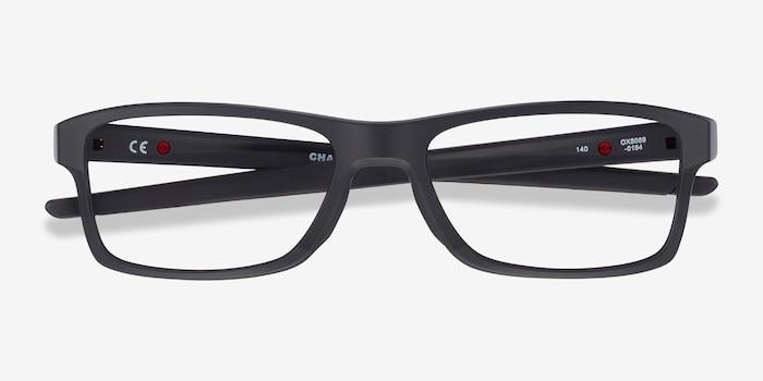 Oakley Chamfer MNP Black Plastic Eyeglass Frames from EyeBuyDirect, Closed View