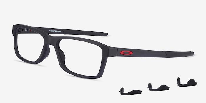 Oakley Chamfer MNP Black Plastic Eyeglass Frames from EyeBuyDirect, Angle View
