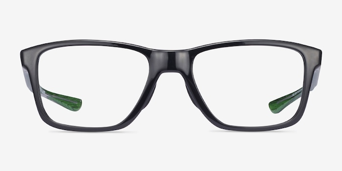 Oakley Trim Plane Polished Black Plastic Eyeglass Frames from EyeBuyDirect, Front View