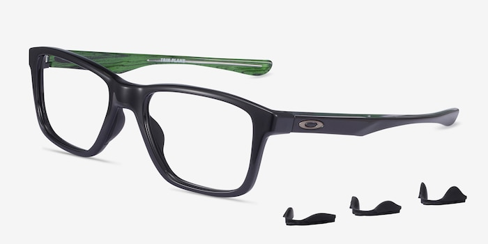 Oakley Trim Plane Polished Black Plastic Eyeglass Frames from EyeBuyDirect, Angle View