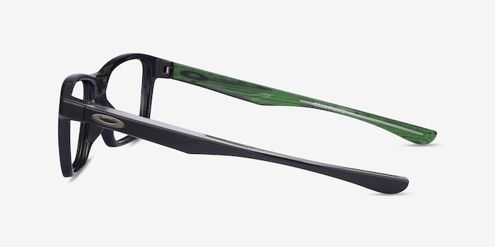Oakley Trim Plane Polished Black Plastic Eyeglass Frames from EyeBuyDirect, Side View
