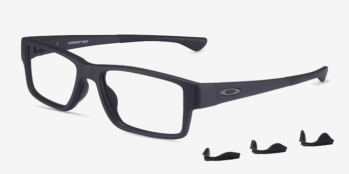 Oakley Airdrop Mnp Satin Black Plastic Eyeglass Frames from EyeBuyDirect, Angle View