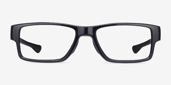 Oakley Airdrop MNP Polished Black Plastic Eyeglass Frames from EyeBuyDirect, Front View