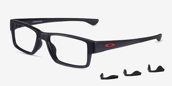 Oakley Airdrop MNP Polished Black Plastic Eyeglass Frames from EyeBuyDirect, Angle View