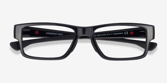 Oakley Airdrop MNP Polished Black Plastic Eyeglass Frames from EyeBuyDirect, Closed View