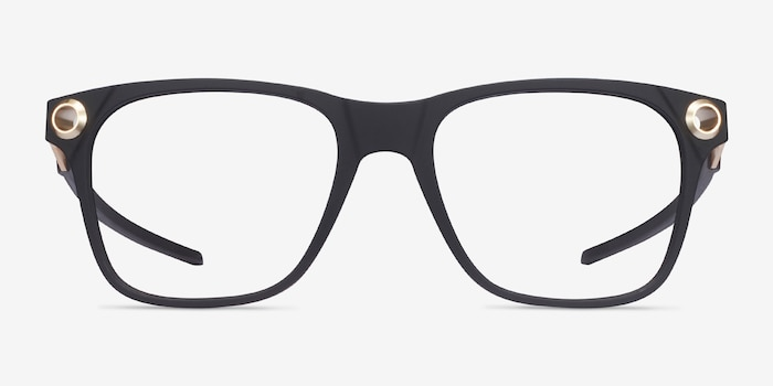 Oakley Apparition Satin Black Plastic Eyeglass Frames from EyeBuyDirect, Front View