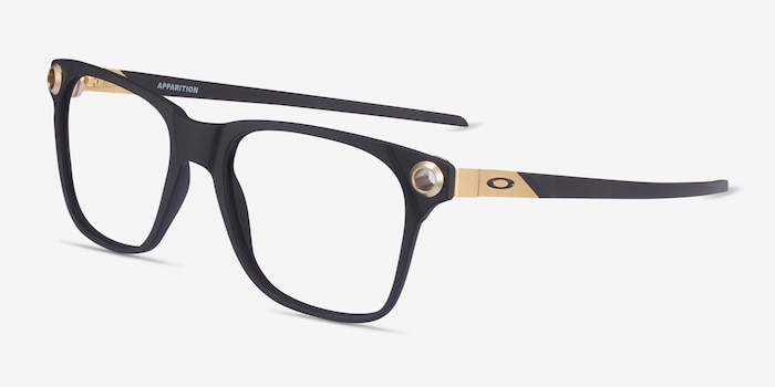 Oakley Apparition Satin Black Plastic Eyeglass Frames from EyeBuyDirect, Angle View