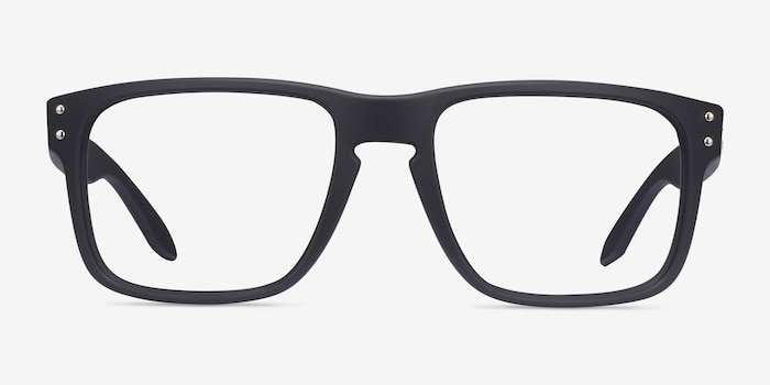 Oakley Holbrook Rx Satin Black Plastic Eyeglass Frames from EyeBuyDirect, Front View