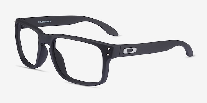 Oakley Holbrook Rx Satin Black Plastic Eyeglass Frames from EyeBuyDirect, Angle View