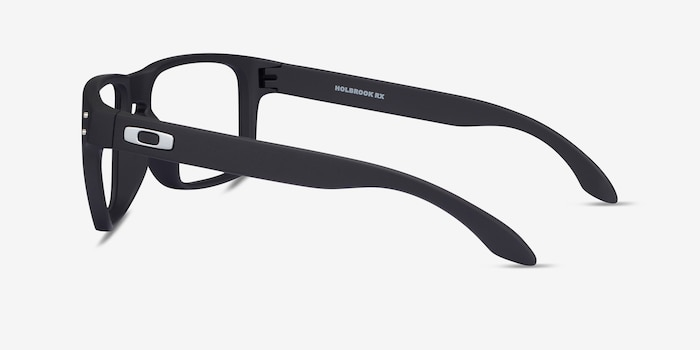 Oakley Holbrook Rx Satin Black Plastic Eyeglass Frames from EyeBuyDirect, Side View