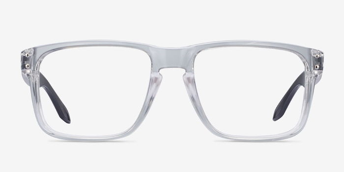 Oakley Holbrook Rx Polished Clear & Gray Plastic Eyeglass Frames from EyeBuyDirect, Front View