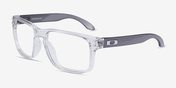 Oakley Holbrook Rx Polished Clear & Gray Plastic Eyeglass Frames from EyeBuyDirect, Angle View