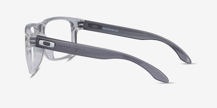 Oakley Holbrook Rx Polished Clear & Gray Plastic Eyeglass Frames from EyeBuyDirect, Side View