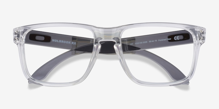 Oakley Holbrook Rx Polished Clear & Gray Plastic Eyeglass Frames from EyeBuyDirect, Closed View