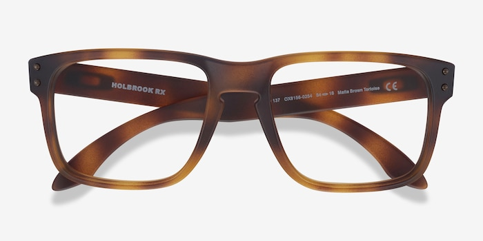 Oakley Holbrook Rx Matte Brown Tortoise Plastic Eyeglass Frames from EyeBuyDirect, Closed View