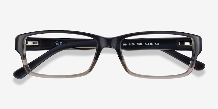 Ray-Ban RB5169 Black & Gray Acetate Eyeglass Frames from EyeBuyDirect, Closed View