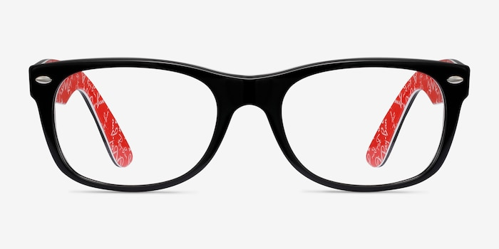 Ray-Ban RB5184 Black & Red Acetate Eyeglass Frames from EyeBuyDirect, Front View