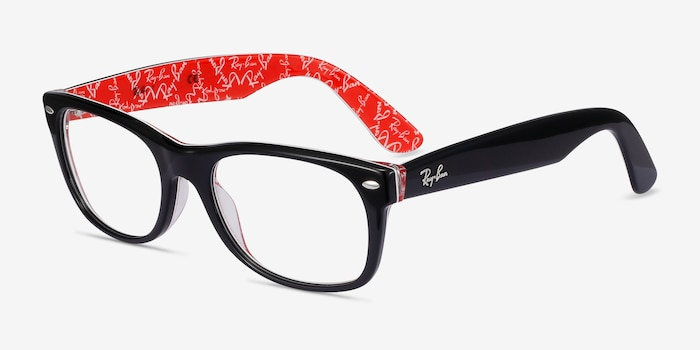 Ray-Ban RB5184 Black & Red Acetate Eyeglass Frames from EyeBuyDirect, Angle View