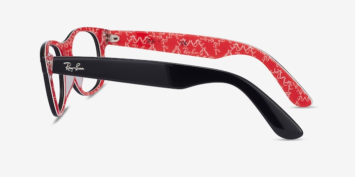Ray-Ban RB5184 Black & Red Acetate Eyeglass Frames from EyeBuyDirect, Side View