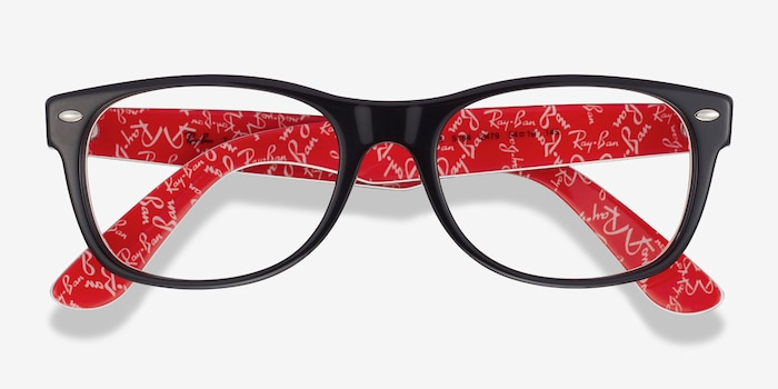 Ray-Ban RB5184 Black & Red Acetate Eyeglass Frames from EyeBuyDirect, Closed View
