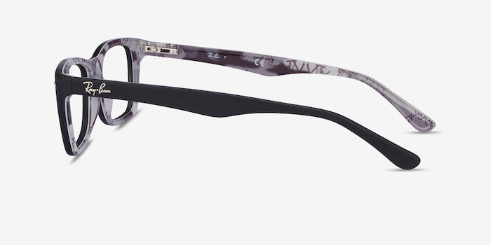 Ray-Ban RB5228 Black & Gray Acetate Eyeglass Frames from EyeBuyDirect, Side View