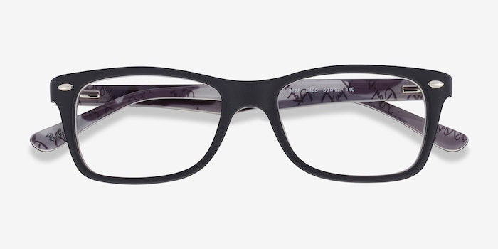 Ray-Ban RB5228 Black & Gray Acetate Eyeglass Frames from EyeBuyDirect, Closed View